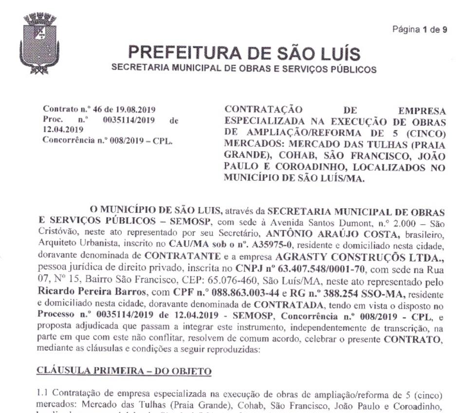 contrato-prefeitura Prefeitura vai gastar mais de R$ 16 milhões com a reformar cinco mercados de São Luís