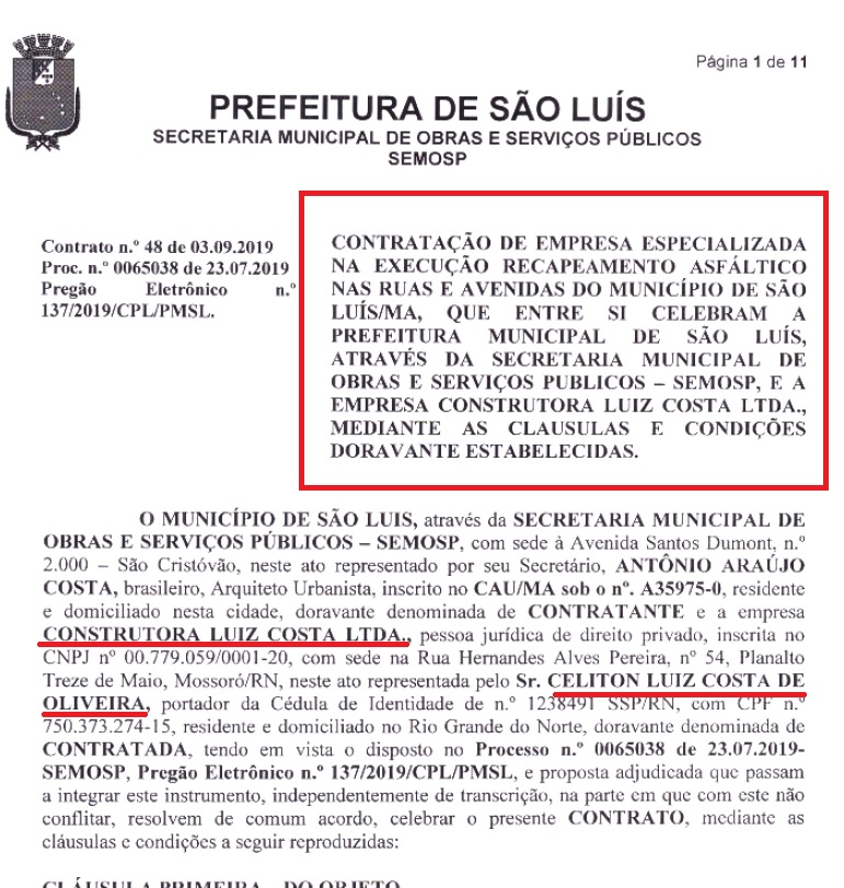 mossoro-contrato Empresa envolvida em escândalo na campanha do Senador Weverton Rocha ganha quase R$ 20 milhões na prefeitura de São Luís