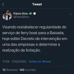 Flavío Dino anuncia realização de licitação para o Ferry Boat