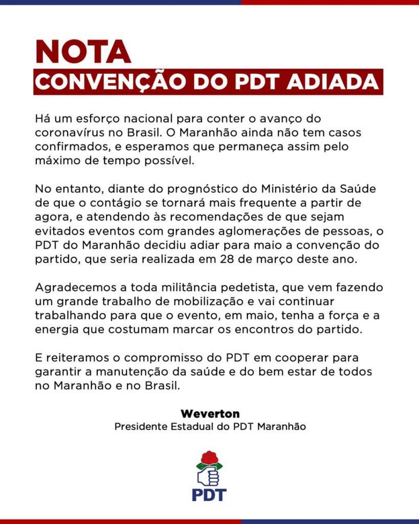 89683525_1323649741168518_6505599975030971668_n-819x1024 Weverton Rocha adia a convenção do PDT no Maranhão por causa do Coronavírus