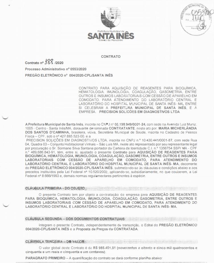 contrato Empresa investigada pela Polícia Federal ganha contrato de quase R$ 1 milhão em Santa Inês