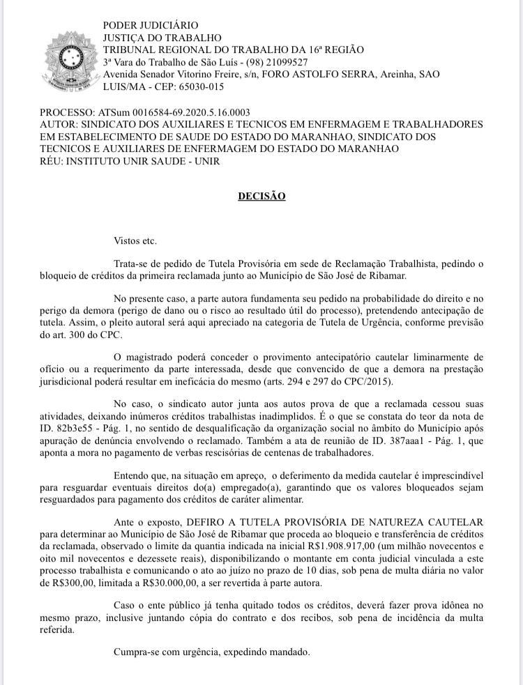0db19957-9446-4f46-8b9f-a2b92cf6a031 Município de São José de Ribamar descumpre decisão judicial