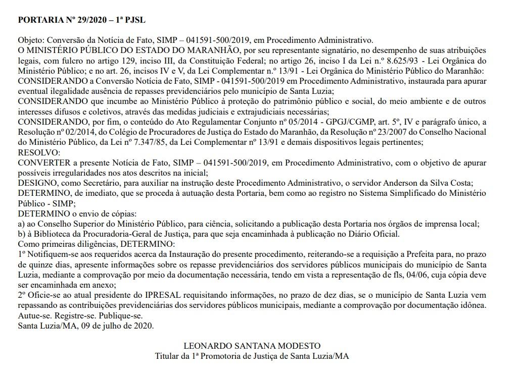 8c625000-c57d-4228-bf6c-67540f5b5d7f Promotoria apura possíveis irregularidades no fundo previdenciário de Santa Luzia