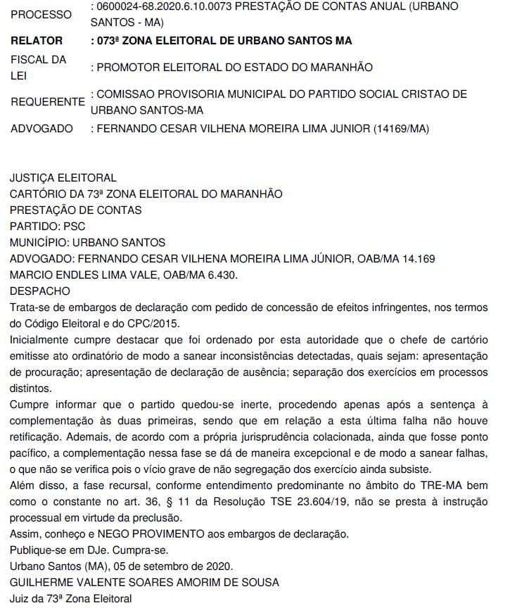 URBANO-SANTOSSSSS Justiça eleitoral reprova as contas do PSC em Urbano Santos; resultado pode prejudicar a campanha de Clemilton Barros