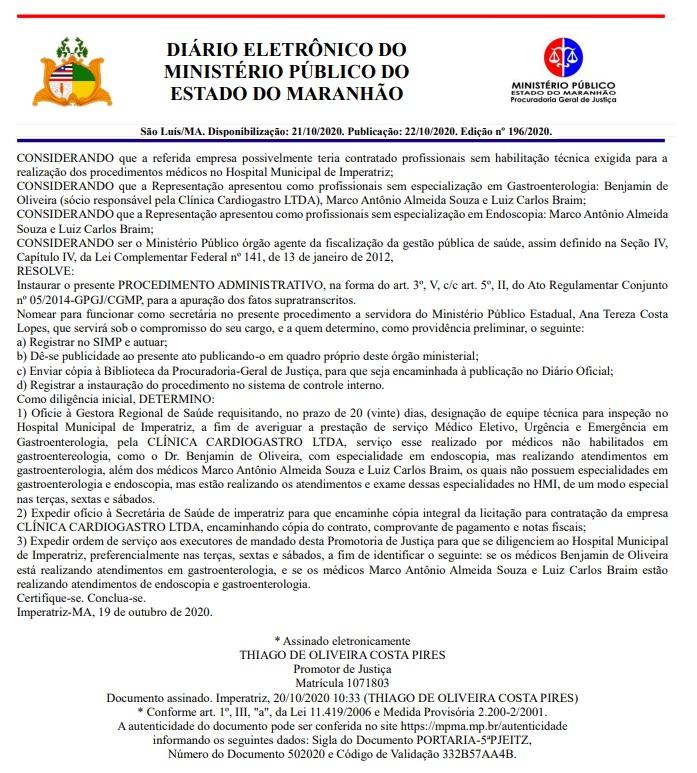 02 Candidato a prefeito de Açailândia é investigado pelo o MP por suposta irregularidade em Hospital de Imperatriz