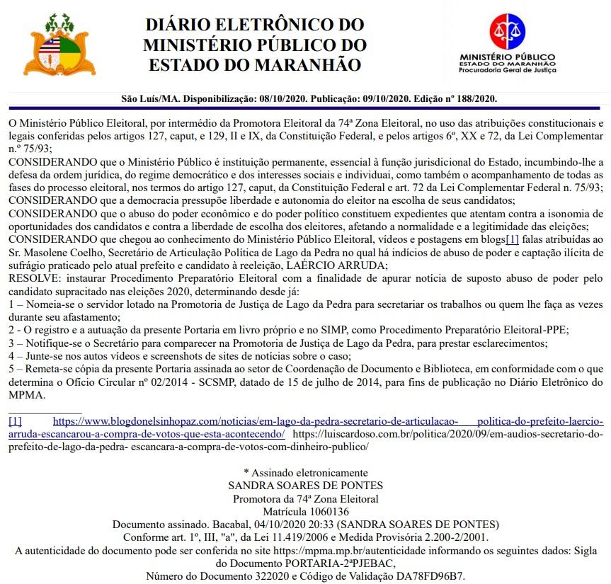 lago-da-pedra MPE mira em Laércio Arruda e apura possível compra de votos em Lago da Pedra