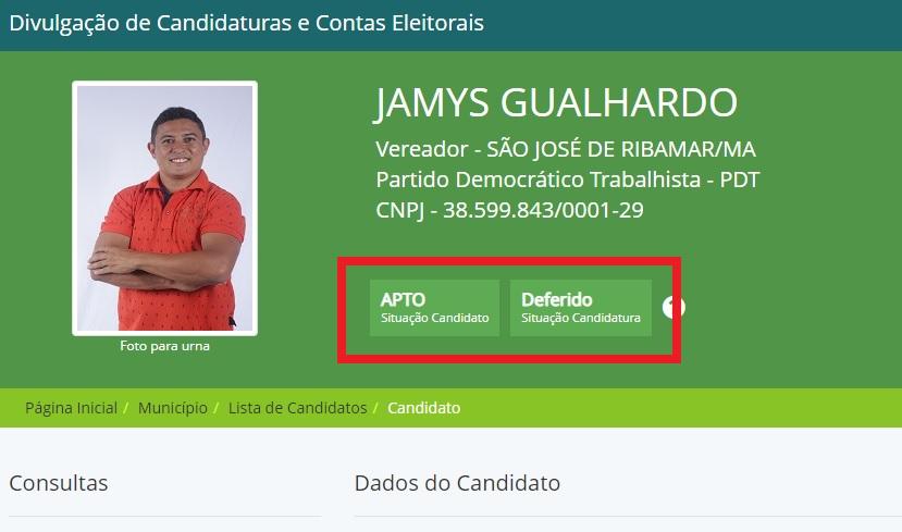 tse Jamys Gualhardo tem candidatura deferida pelo TSE