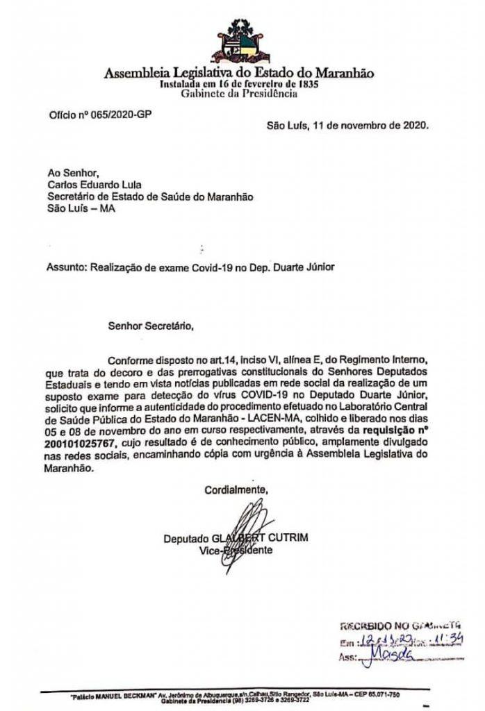 9AB9F791-F89F-4EE8-9598-69155162CCBB-698x1024 Assembleia Legislativa do Maranhão solicita esclarecimento do LACEN no caso Duarte Júnior