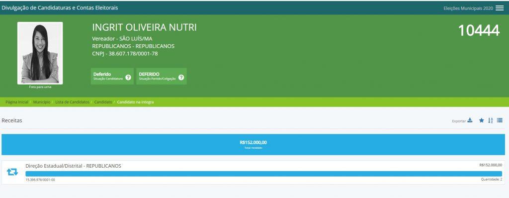 ingrit2-1024x398 Desproporcional: candidata a vereadora do Republicanos recebeu mais dinheiro que 1900 candidatos no Maranhão