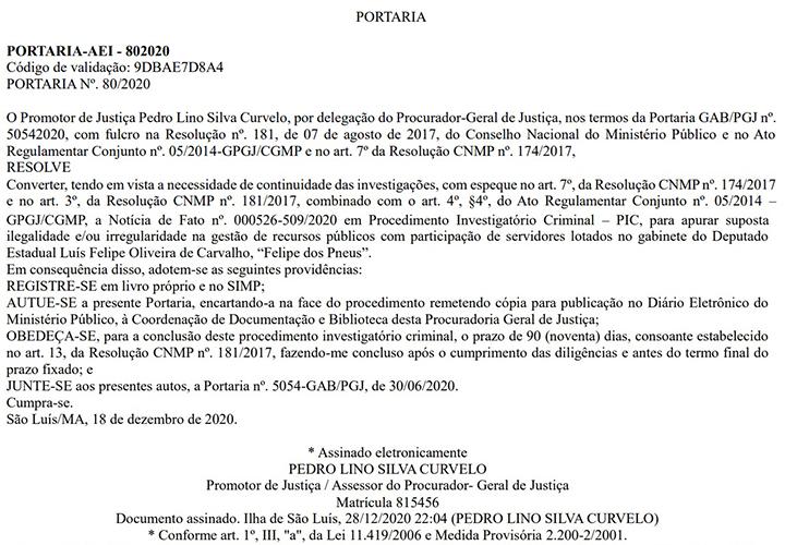 """PORTARIA Promotor abre procedimento investigatório criminal para apurar suposta pratica de """"rachadinha"""" pelo deputado Felipe dos Pneus"""