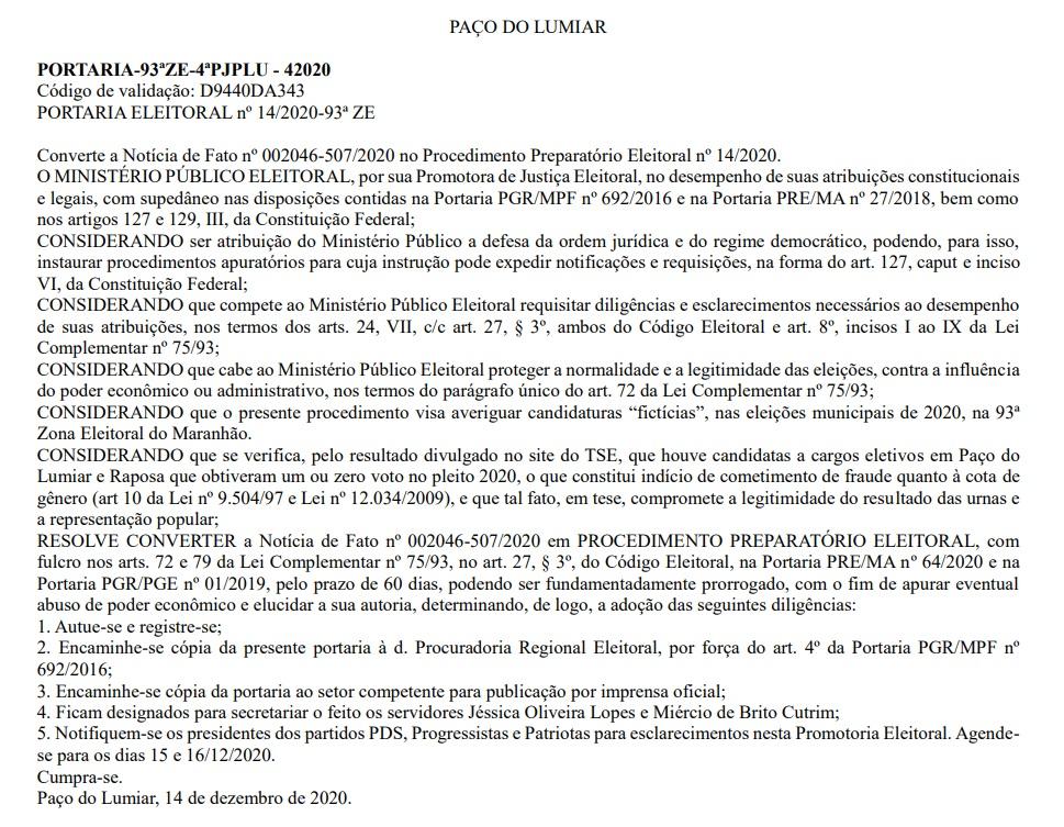 """paco MPE investiga indícios de candidaturas """"laranjas"""" em Paço do Lumiar"""