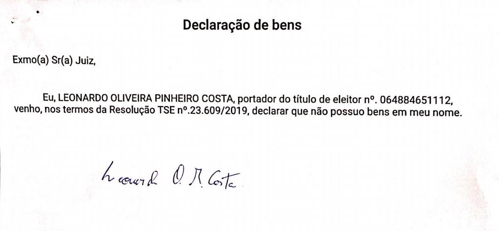 Declaracao Candidato a vereador que não declarou bens, ganha contrato milionário na gestão de Luciano Genésio, em Pinheiro