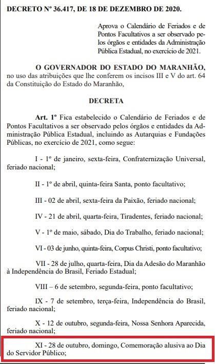 Decreto- Governo erra a data de comemoração ao dia do servidor público
