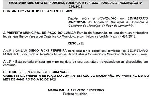 NOMEACAO Ex-assessor de Duarte, Diego Ricci é nomeado secretário de indústria e comércio, em Paço do Lumiar