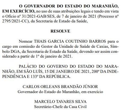 Thais-Coutinho Vice na chapa de Adelmo Soares, Thais Coutinho ganha cargo no governo estadual em Caxias