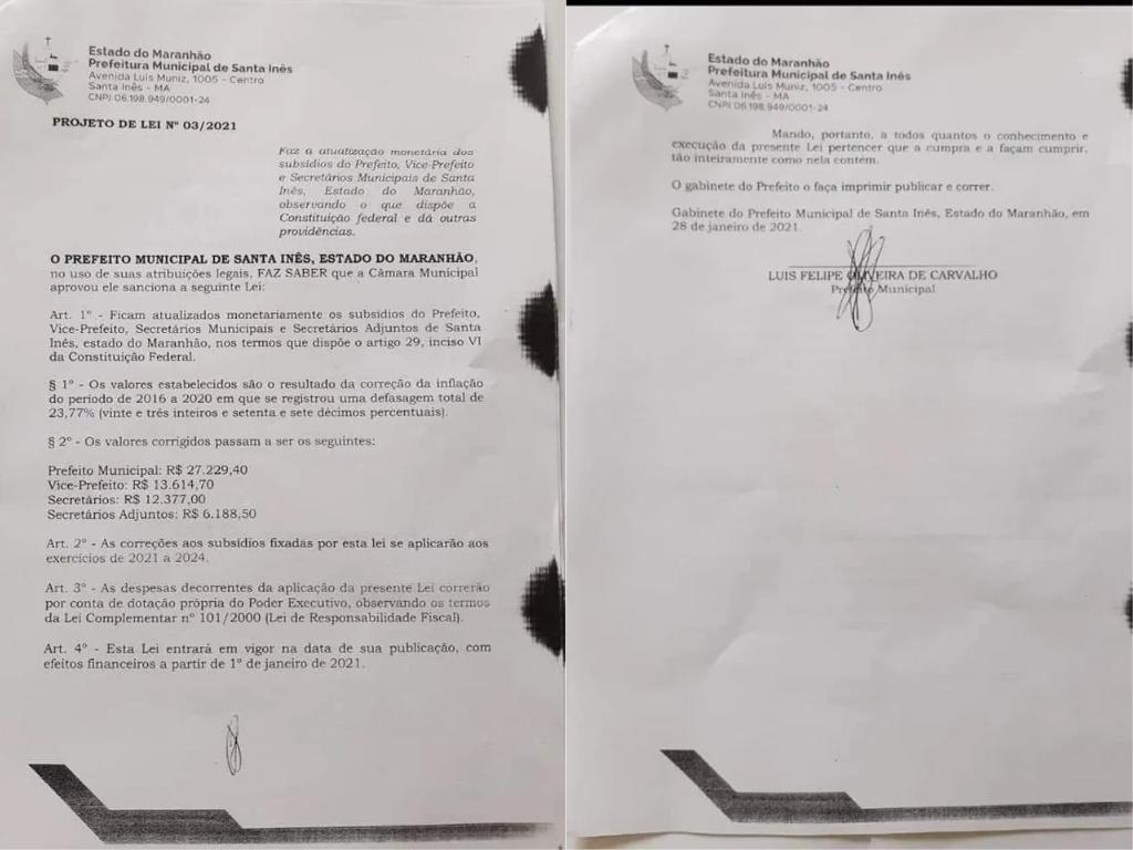 Decreto-Santa-Ines Em meio à pandemia, prefeito do Maranhão tenta aumentar seu salário no 1º dia de trabalho