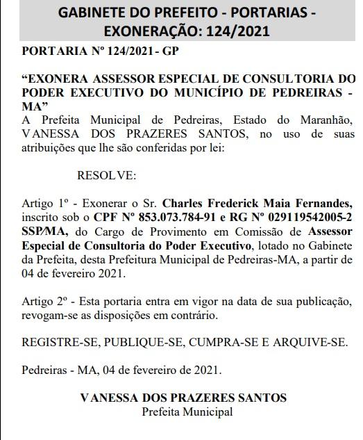 EXONERACAO No Maranhão, prefeita nomeia o próprio marido em seu gabinete