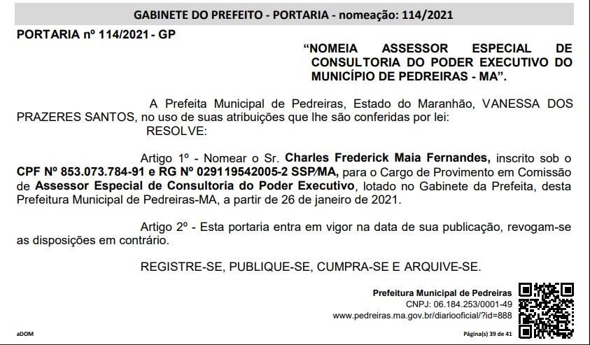 NOMEACAO No Maranhão, prefeita nomeia o próprio marido em seu gabinete