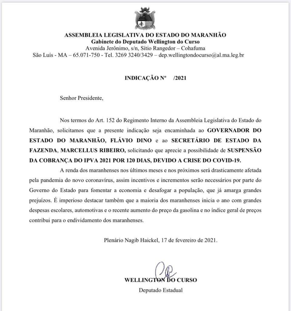 eb0da82d-b8ee-435c-a334-f2e008f41421-960x1024 Wellington pede prorrogação 120 dias para início de pagamento do IPVA no Maranhão