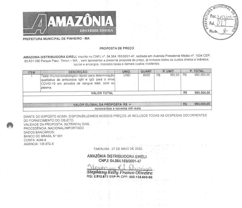 02_ Estoque Zero: Compra de testes de Covid-19 em Pinheiro foram direcionadas para Teresina