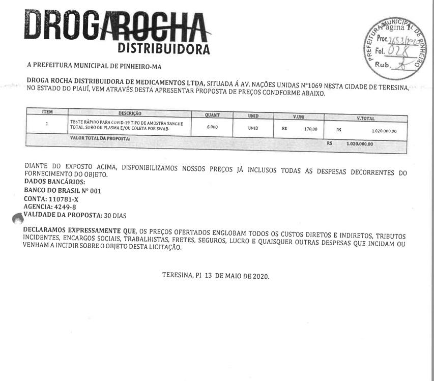 03_ Estoque Zero: Compra de testes de Covid-19 em Pinheiro foram direcionadas para Teresina