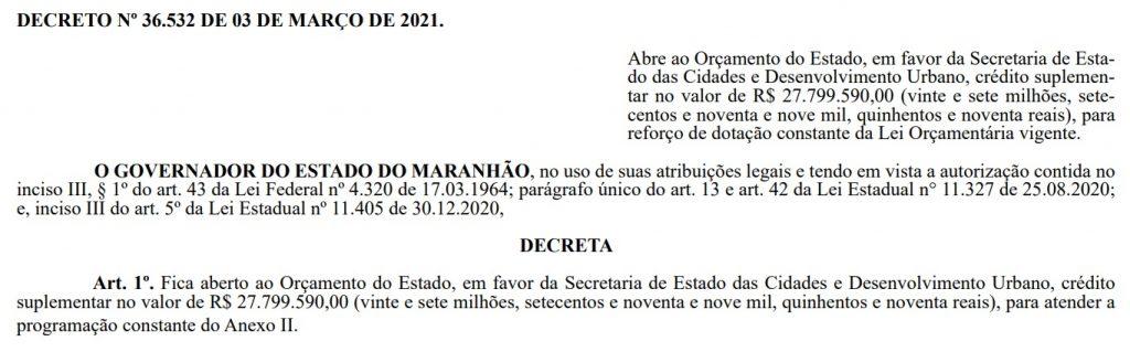decreto-1024x319 Sob o comando de Márcio Jerry, SECID ganha crédito suplementar de R$ 27 milhões