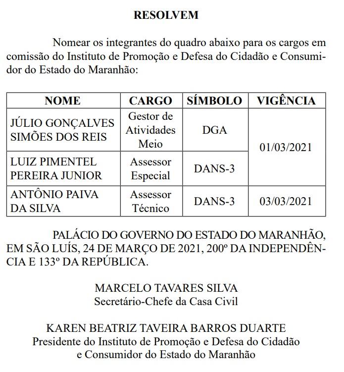 JULIO-GONCALVES-SIMOES-DOS-REIS Procon, no Maranhão, nomeia suplentes de vereadores da última eleição; candidatos são do mesmo partido de Duarte Júnior