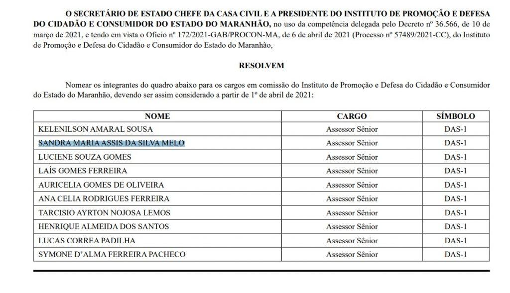 SANDRA-MARIA-ASSIS-DA-SILVA-MELO-1024x589 Procon, no Maranhão, nomeia suplentes de vereadores da última eleição; candidatos são do mesmo partido de Duarte Júnior