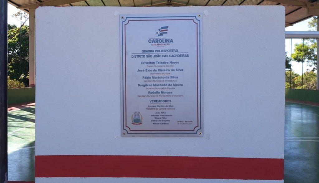 Placa_quadra_carolina-1024x588 No Maranhão, prefeito inaugura obra e coloca apenas os nomes de vereadores aliados na placa