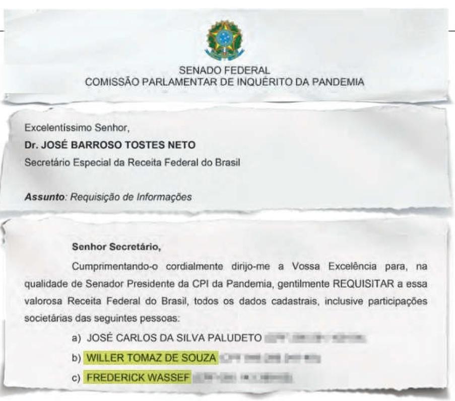 Requerimento Sigiloso: CPI da Covid pede levantamento de Willer Tomaz à Receita Federal; sócio de Weverton Rocha