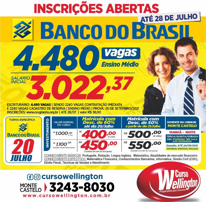 Screenshot_20210718-1308352 Com reabertura para o dia 20, Curso Wellington inicia turmas para o concurso do Banco do Brasil, Enem e CFO/UEMA