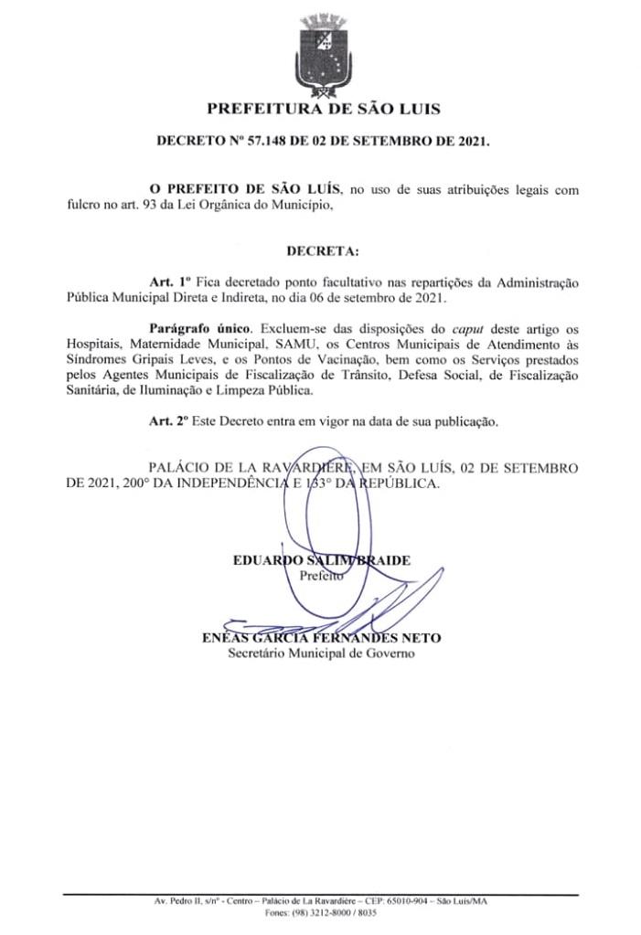 Decreto-57.148 Prefeitura de São Luís confirma ponto facultativo na segunda-feira (6) véspera dos feriados